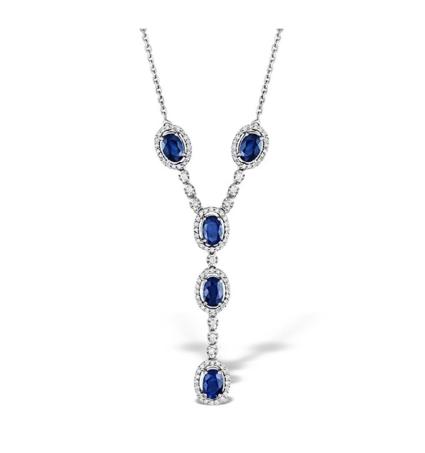 Sapphire 6 x 4 mm And Diamond 9K White Gold Necklace - image 1