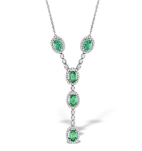 Emerald 0.45CT And Diamond 9K White Gold Necklace - image 1