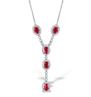 Ruby 4 x 6mm And Diamond 9K White Gold Necklace