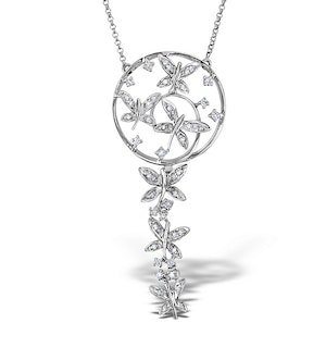 9K White Gold Diamond Dreamcatcher Necklace 0.37ct
