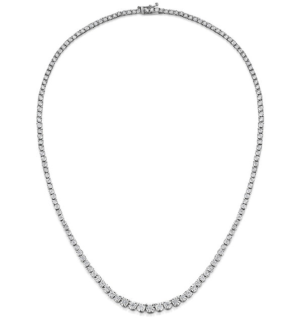Diamond Necklace Tara 10.00ct Look in 18K White Gold D3497 - image 1