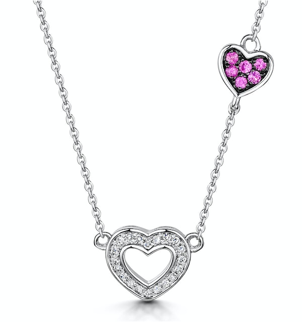 Pink Sapphire and Diamond Stellato Heart Necklace in 9KW Gold D3412 - image 1