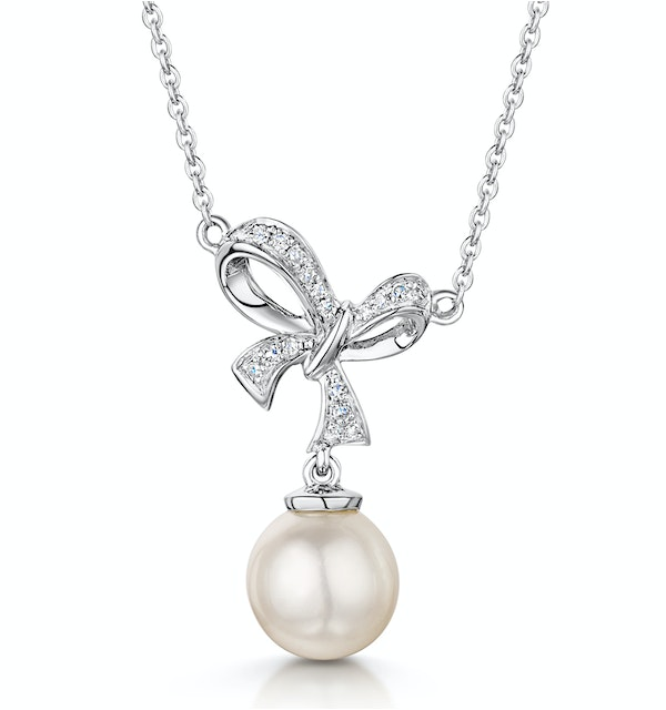 Pearl and Diamond Bow Stellato Necklace 0.05ct in 9K White Gold - image 1