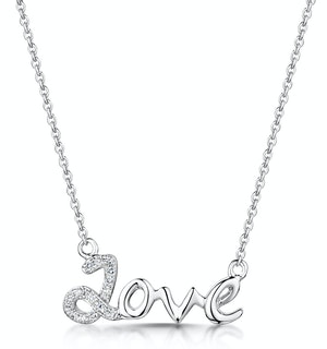 Diamond Stellato Love Necklace 0.04ct in 9K White Gold