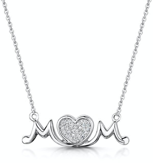 Diamond Stellato Mum Necklace 0.08ct in 9K White Gold
