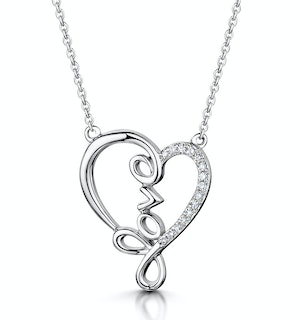 Diamond Stellato Heart Necklace 0.05ct in 9K White Gold