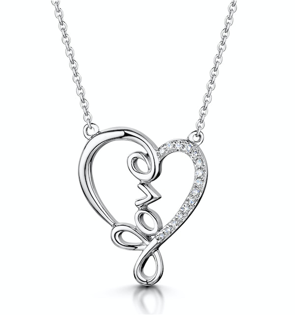 Diamond Stellato Heart Necklace 0.05ct in 9K White Gold - image 1