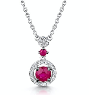 Ruby and Diamond Stellato Necklace 0.12ct in 9K White Gold