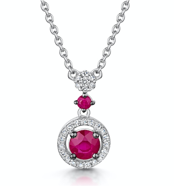 Ruby and Diamond Stellato Necklace 0.12ct in 9K White Gold - image 1