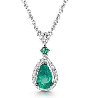 Emerald and Diamond Stellato Necklace 0.13ct in 9K White Gold