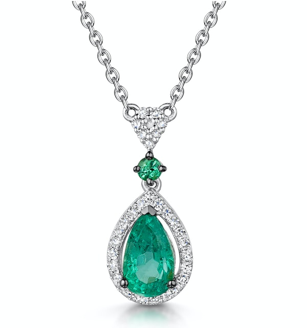 Emerald and Diamond Stellato Necklace 0.13ct in 9K White Gold - image 1
