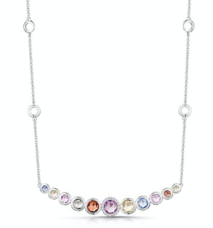 Rainbow Sapphires and Diamond Stellato Necklace 9K White Gold