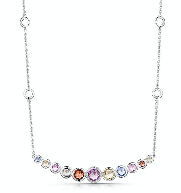 Rainbow Sapphires and Diamond Stellato Necklace 9K White Gold - image 1