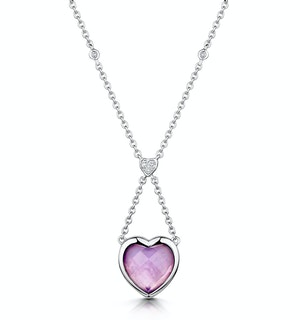 Amethyst and Diamond Stellato Heart Necklace in 9K White Gold  D3524