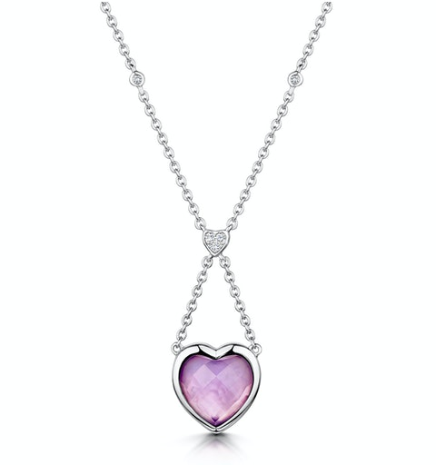 Amethyst and Diamond Stellato Heart Necklace in 9K White Gold  D3524 - image 1