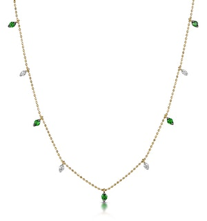 Emerald and Diamond Necklace in 18K Gold - Vivara Collection