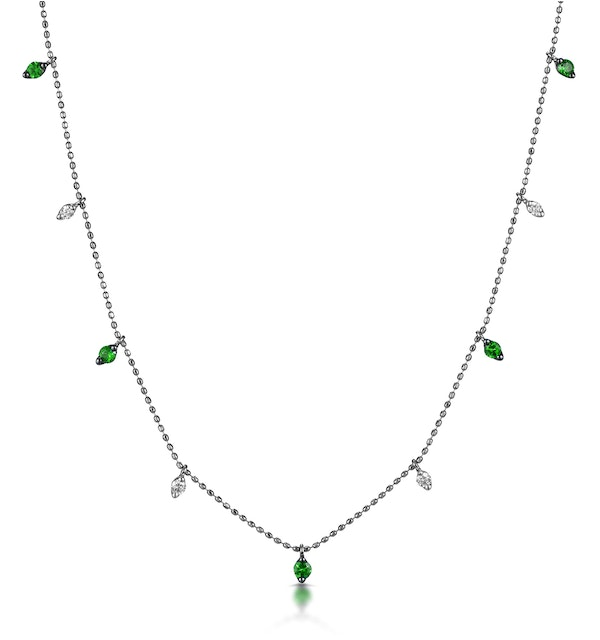 Emerald and Diamond Necklace in 18K White Gold - Vivara Collection - image 1