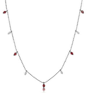 Ruby and Diamond Necklace in 18K White Gold - Vivara Collection