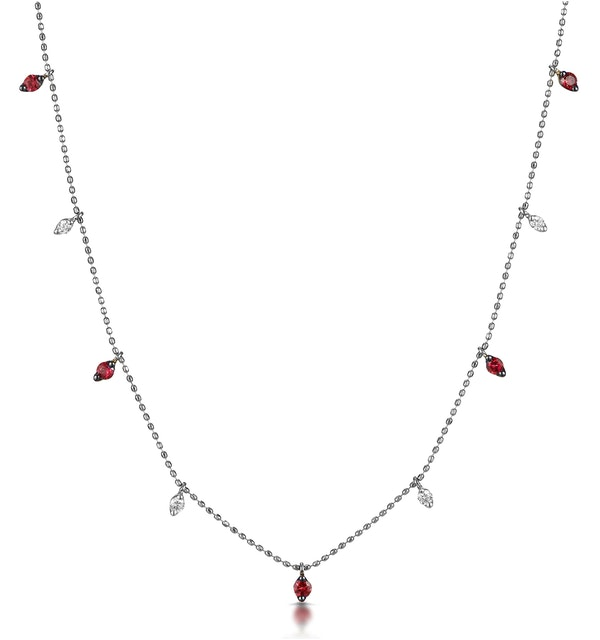 Ruby and Diamond Necklace in 18K White Gold - Vivara Collection - image 1