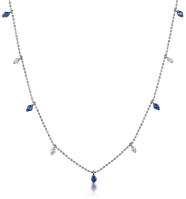Sapphire and Diamond Necklace in 18K White Gold - Vivara Collection - image 1