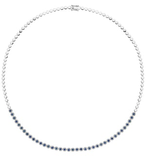 1.09ct Sapphire and Diamond Stellato Necklace in 9K White Gold