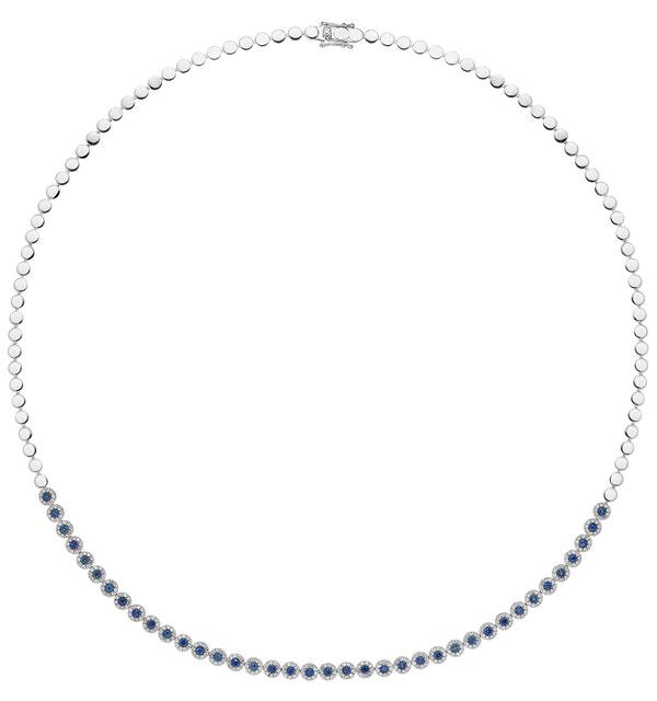 1.09ct Sapphire and Diamond Stellato Necklace in 9K White Gold - image 1