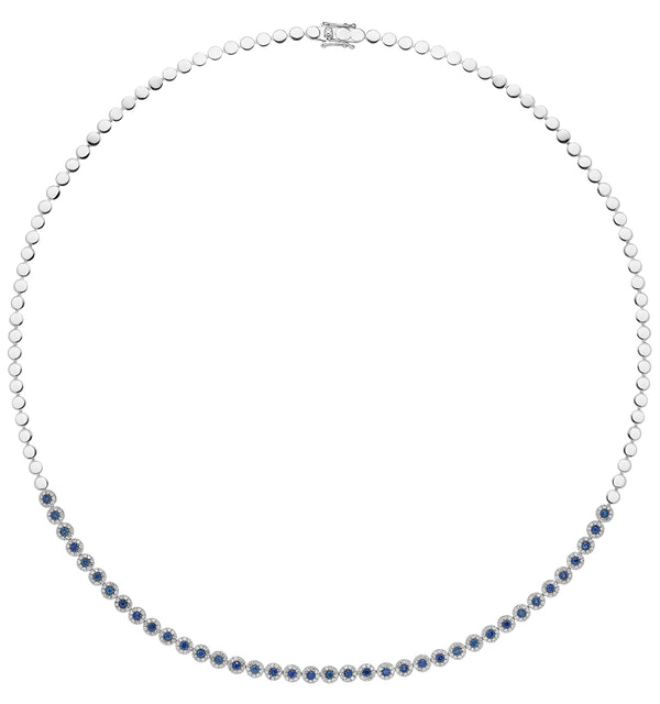 1.09ct Sapphire and Diamond Stellato Necklace in 9K White Gold - image 1
