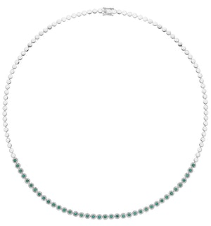 0.90ct Emerald and Diamond Stellato Necklace in 9K White Gold