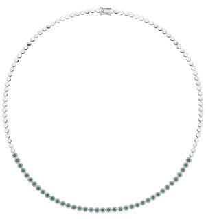 0.90ct Emerald and Diamond Stellato Necklace in 9K White Gold