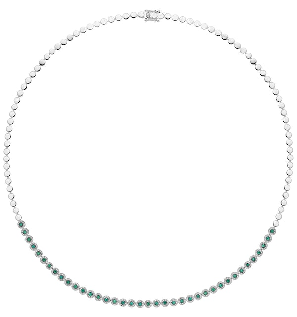 0.90ct Emerald and Diamond Stellato Necklace in 9K White Gold - image 1