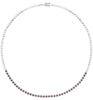 1.17ct Ruby and Diamond Stellato Necklace in 9K White Gold