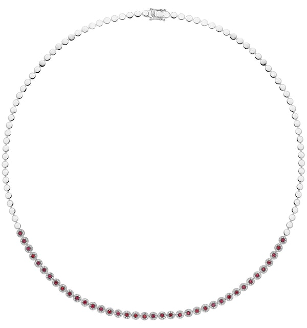 1.17ct Ruby and Diamond Stellato Necklace in 9K White Gold - image 1