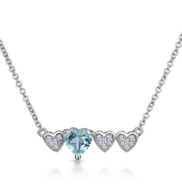 Aquamarine and Diamond Stellato Heart Necklace in 9K White Gold - image 1