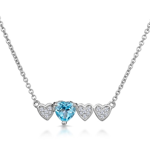 Swiss Blue Topaz and Diamond Stellato Heart Necklace in 9K White Gold - image 1