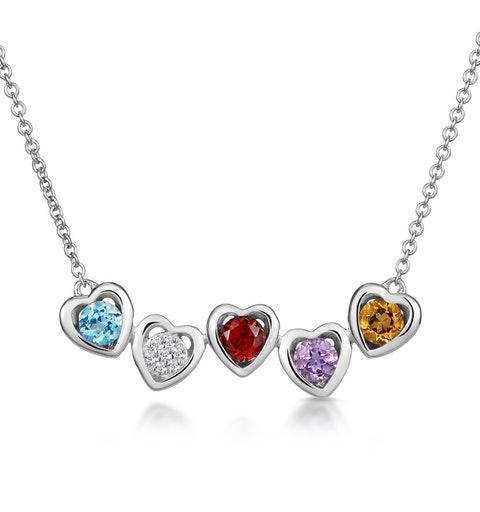 Multi Gem and Diamond Stellato Heart Necklace in 9K White Gold - image 1