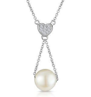 Pearl and Diamond Heart Stellato Necklace in 9K White Gold