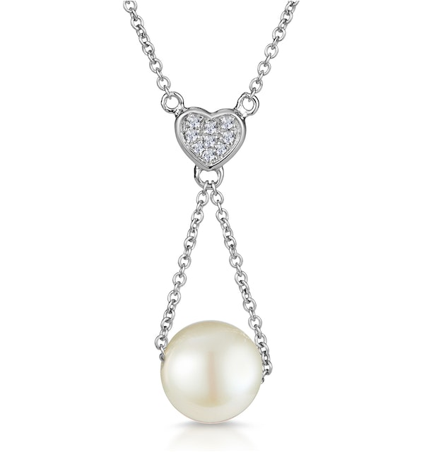 Pearl and Diamond Heart Stellato Necklace in 9K White Gold - image 1