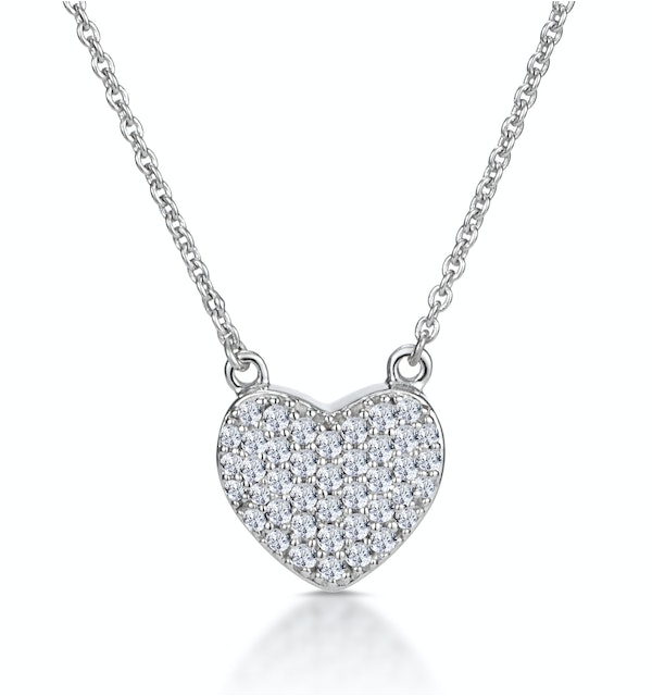 Diamond Pave Heart Necklace 0.33ct in 9K White Gold - image 1