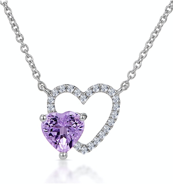 Amethyst and Diamond Stellato Heart Necklace in 9K White Gold - image 1