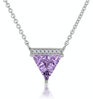 Amethyst and Diamond Stellato Cluster Necklace in 9K White Gold