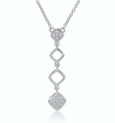 Stellato Collection Diamond Squares Drop Necklace in 9K White Gold - image 1