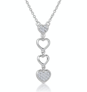 Drop Diamond Hearts Stellato Necklace in 9K White Gold