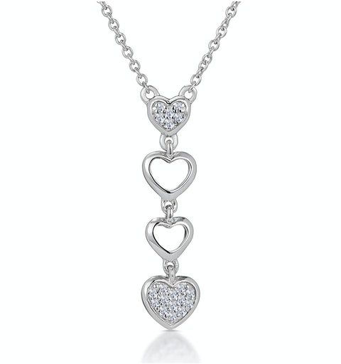 Drop Diamond Hearts Stellato Necklace in 9K White Gold - image 1