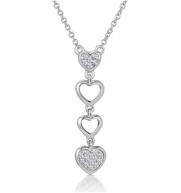 Drop Diamond Hearts Stellato Necklace in 9K White Gold - image 1