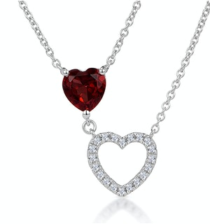 Stellato Garnet and Diamond Heart Necklace in 9K White Gold