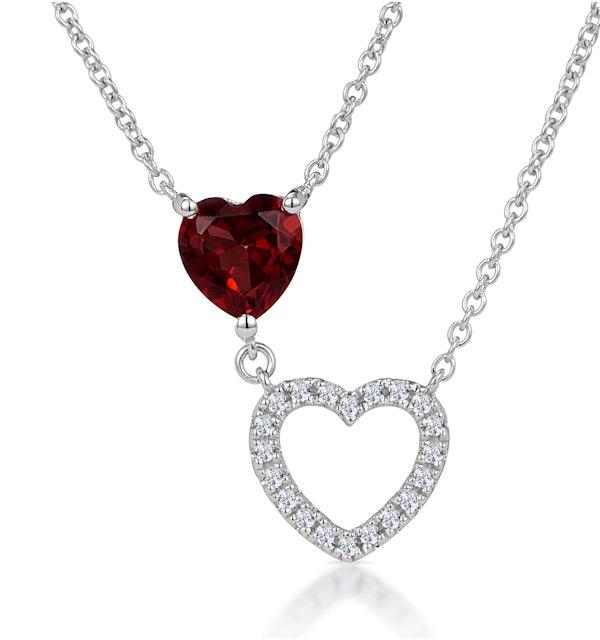 Stellato Garnet and Diamond Heart Necklace in 9K White Gold - image 1