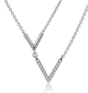 Diamond Duo Necklace From Stellato Collection in 9K White Gold