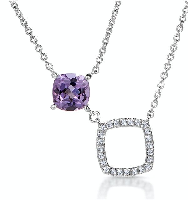 Amethyst and Pave Diamond Square Stellato Necklace in 9K White Gold - image 1