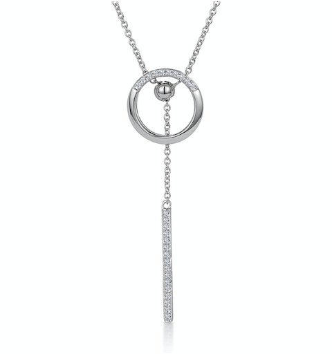 Circle and Bar Diamond Stellato Necklace in 9K White Gold - image 1