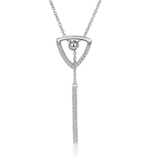 Stellato Collection Triangle and Bar Diamond Necklace in 9K White Gold